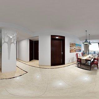 现代家装红色沙发客厅整体模型