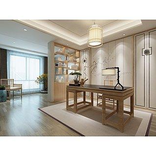 新中式书房家装模型