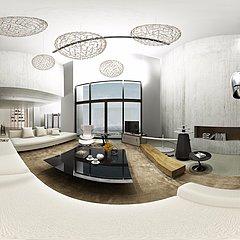 清新白loft家装设计整体模型