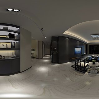 黑白色系现代家装模型整体模型