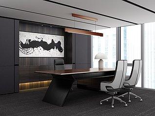 现代办公室工装3d模型