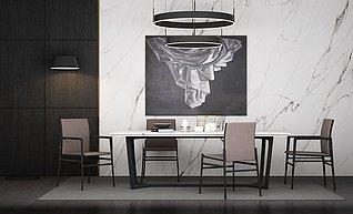 现代餐厅家装3d模型