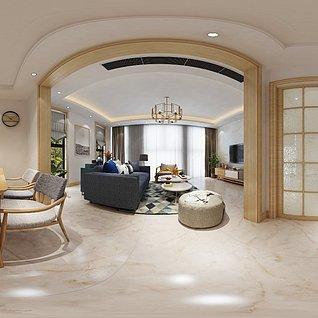 现代客厅餐厅厨房3d模型