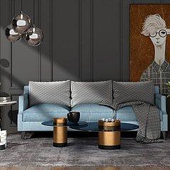 美式风格客厅整体模型