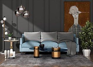 美式风格客厅家装3d模型