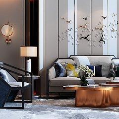 新中式奢华客厅整体模型