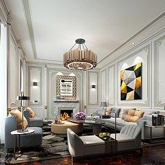 现代简约美式客厅整体模型
