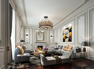 现代简约美式客厅家装3d模型
