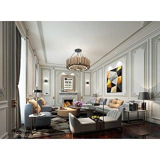 现代简约美式客厅家装模型