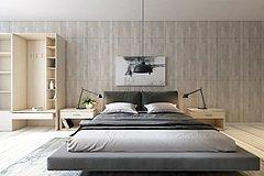 现代双人床整体模型