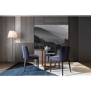 現代餐桌椅家裝模型