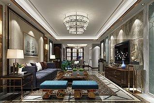 现代风格的客厅3d模型