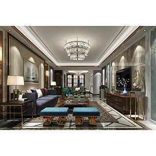 現代風格的客廳家裝模型