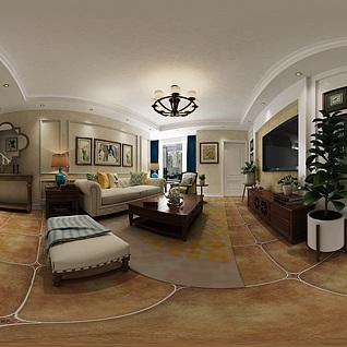 美式客厅全景3d模型