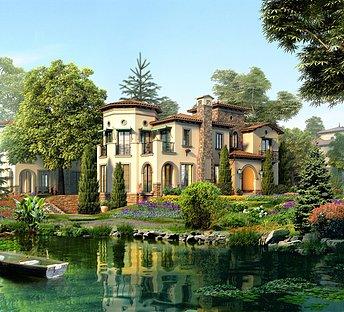 欧式湖景别墅室外整体