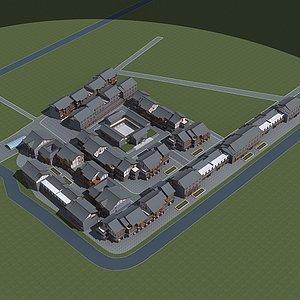 古镇规划模型3d模型