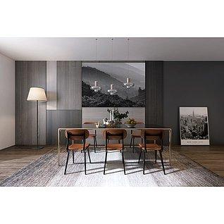 现代餐桌椅家装模型