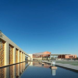 室外校园博物馆水池模型3d模型