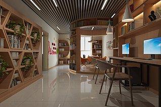 社区图书馆室内3d模型