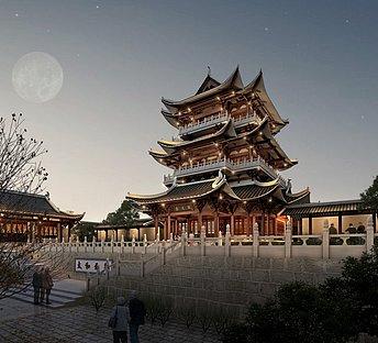 山东曲阜奎文阁中式古塔