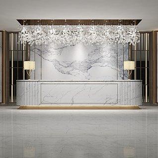 大理石材料大厅前台3d模型