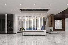 中式大厅前台3D模型