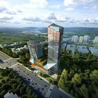 高层玻璃幕墙建筑大厦3d模型