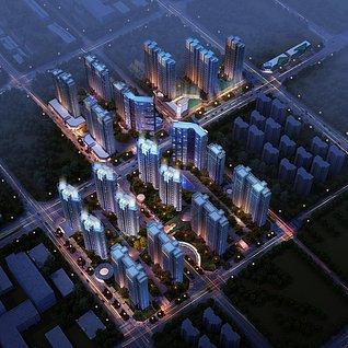 室外夜景楼盘3d模型