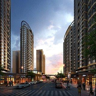 商业街底商大厦3d模型