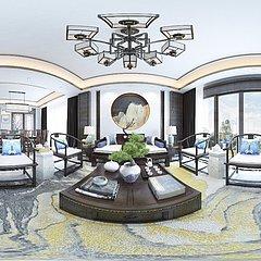 中式客厅全景整体模型