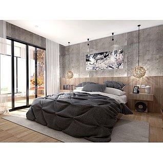 工业风格卧室家装模型