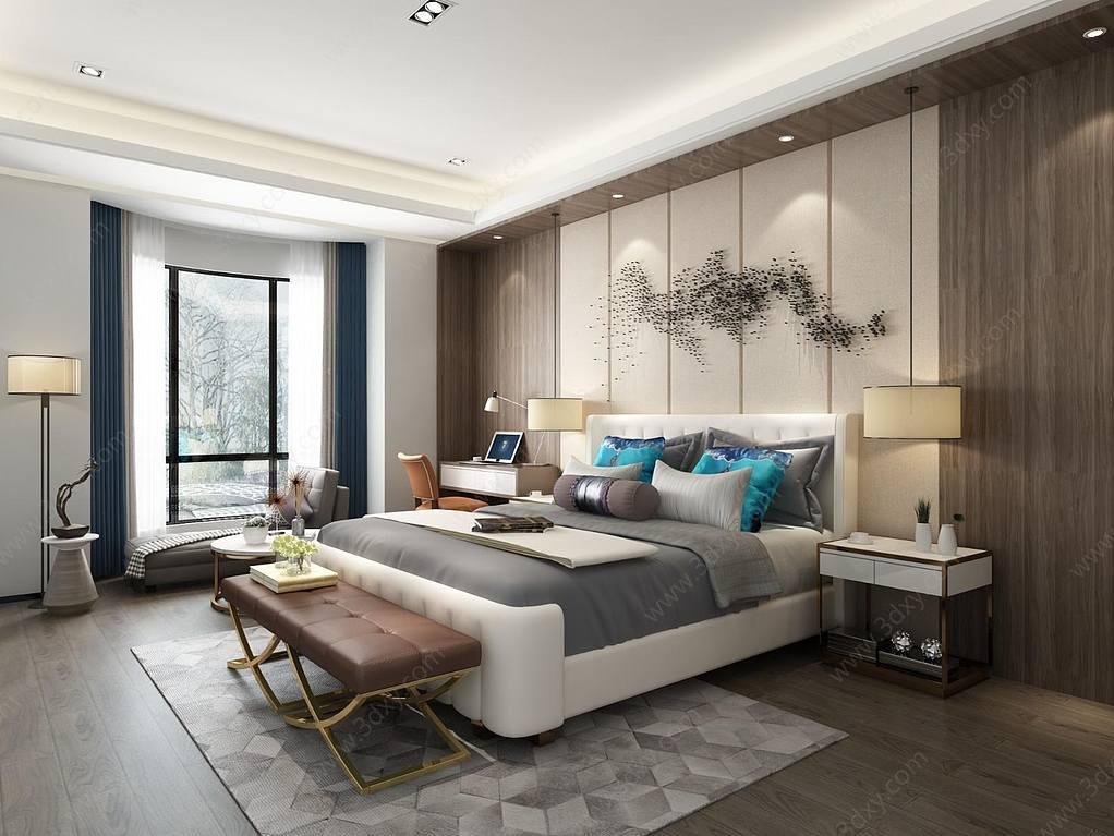 新中式卧室,床,床头柜