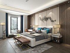 新中式卧室,床,床头柜3D模型