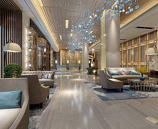 酒店大厅工装3d模型