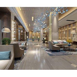 酒店大厅工装模型