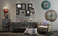 新中式边柜沙发组合设计3d模型