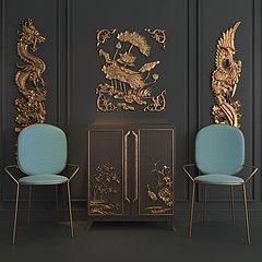 新中式单椅边柜组合3D模型