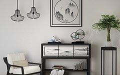 新中式单椅边柜陈设品组合3D模型