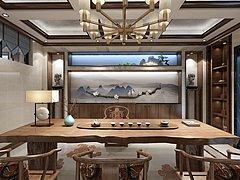 新中式茶室3D模型