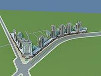新中式商业酒店建筑3d模型