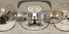 新中式豪华别墅客厅餐厅3D模型