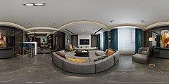 新中式奢华客厅全景模型3D模型