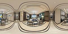 中式客厅全景3D模型