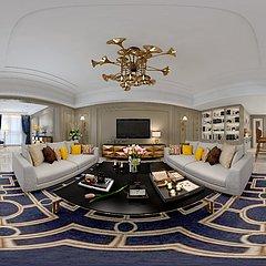 现代轻奢客厅全景模型整体模型