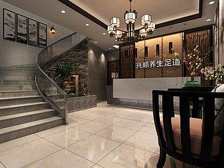 中式风格的接待台3d模型