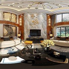 新中式别墅客厅餐厅全景整体模型