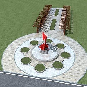 广场景观小品模型3d模型