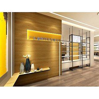 办公室,新中式办公室工装模型