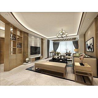 新中式,客厅,餐厅,卧室家装模型