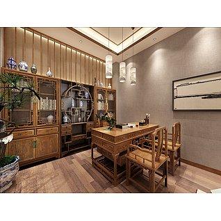 中式红木办公室工装模型